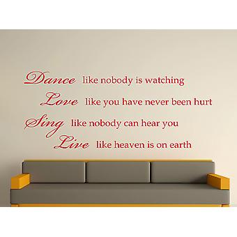 Dance Like Nobody Is Watching Wall Art Sticker - Deep Red