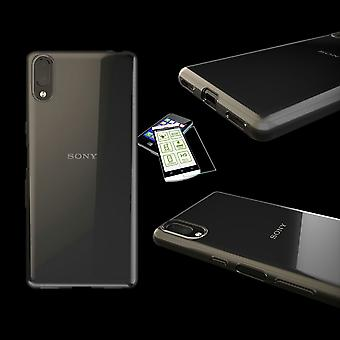 Silikoncase ultra ohut kirjekuori laukku avoin + karkaistu lasi 0,3 mm H9 Sony Xperia L3