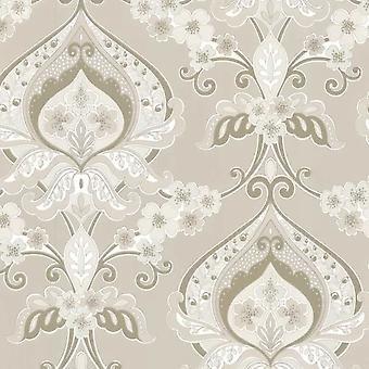 Damassé fleur Floral fond d'écran pâte crème & or le luxe traditionnel mur