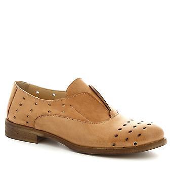Leonardo skor kvinnors handgjorda laceless Oxford skor i brunt kalv läder