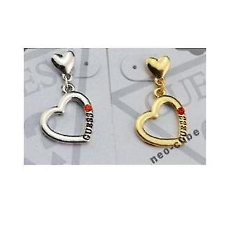 Earrings with heart, 1 pair (gold)