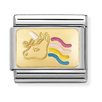 Nomination Classic Colourful Unicorn Steel, Enamel and 18k Gold Link Charm 030284/28