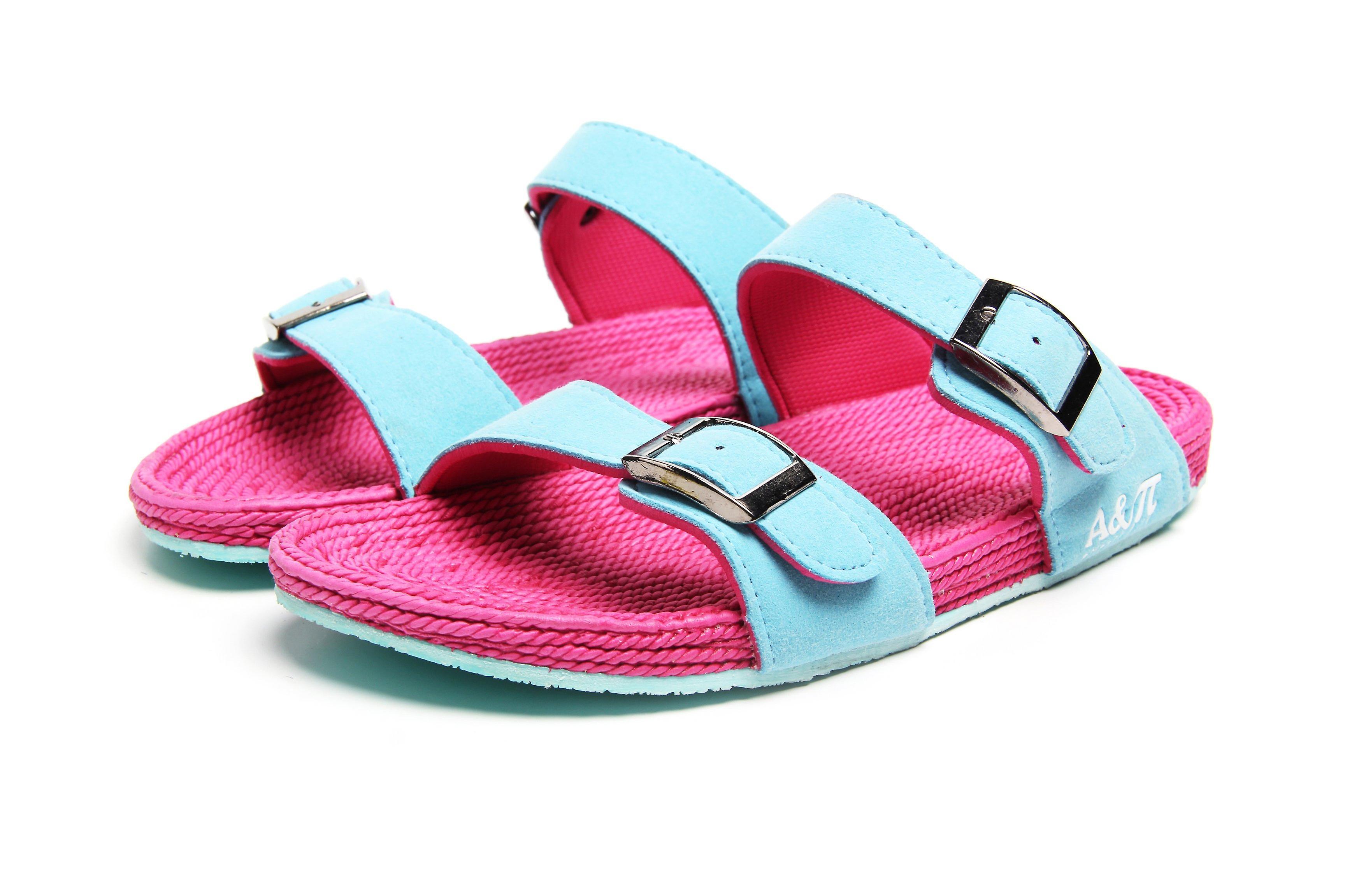 Dual band turquoise-fuchsia sandals