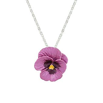 Eternal Collection Pansy Perfection Pink Enamel Silver Tone Flower Pendant