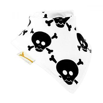 White & black skull & bones bandana bib