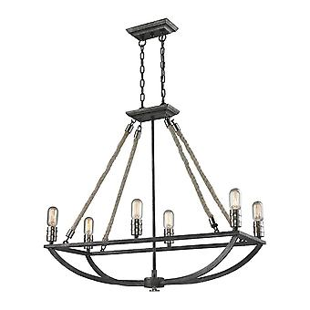 Natural rope 6-light chandelier in polished nickel and silvered graphite elk lighting