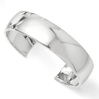 17.75mm 925 Sterling Silver Slip on Rhodium-plated Polished Slip-on Bangle Bracelet - 21.0 Grams
