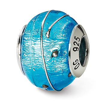925 sterling sølv tekstureret poleret antik finish italiensk Murano glas refleksioner blå sølv italiensk Murano perle ch