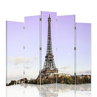 Dekorative Zimmerteiler, 5 Paneele, doppelseitig, 360 ° Drehbare Leinwand, Eiffelturm in Paris