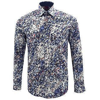 Guide London Navy Marble Print Pure Cotton Long Sleeve Mens Shirt