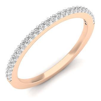 Dazzlingrock Collection 0.18 Carat (ctw) 18K Round Diamond Ladies Anniversary Stackable Wedding Band, Rose Gold