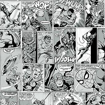 Marvel Comic Strip Fond d'écran noir et blanc Muriva 159502