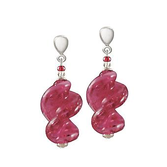 Eternal Collection Sirocco Pink Twisted Murano Glass Silver Tone Drop Pierced Earrings