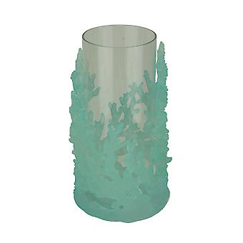Ice Blue Coral Glass Hurricane Candle Holder Small
