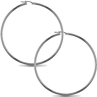 Jewelco London Sterling Silver Polished Hoop Boucles d'oreilles - 2mm - 6.3cm