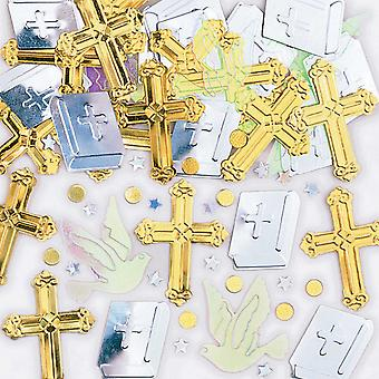 Amscan Rejoice Crosses Metallic Confetti