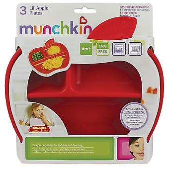 Munchkin Apple Shaped Plates With 3 Divided Sections - Pack Of 3
