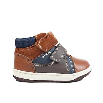 Geox Flick B841LB  Brandy/Navy Leather Boys Rip Tape Ankle Boot