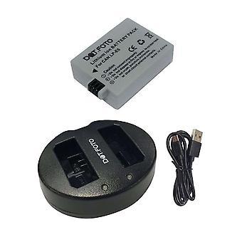 Dot. foto LP-E5 vervangende batterij & snelle dubbele USB-oplader voor Canon [Zie beschrijving voor compatibiliteit]