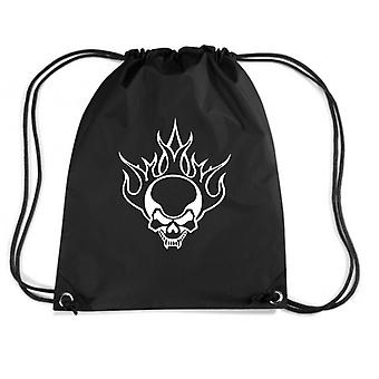 Black backpack fun1461 flaming tribal skull with fangs