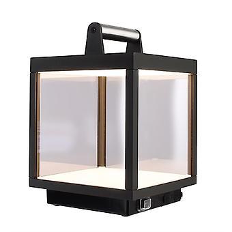 Lámpara de mesa de batería LED Lacertae USB 5 W 3000 K H 267 mm aluminio gris oscuro IP54 regulable