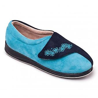 Padders Hug Ladies Microsuede Extra Wide (2e) Slippers Navy Teal