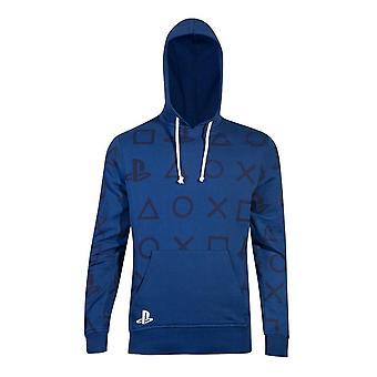 Sony PlayStation ikoner all-over Print hoodie hane XX-stor blå HD000508SNY-2XL