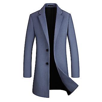 Allthemen mænd ' s Mid-Long Lapel solid business casual uld overfrakke