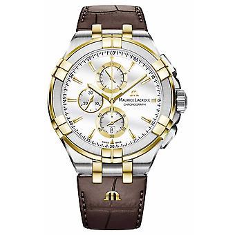 Maurice Lacroix Men's Aikon Quartz Leather Strap AI1018-PVY11-132-1 Watch