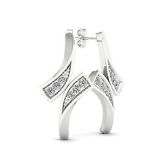 Boucles d'oreilles certifiées Igi 10k or blanc 0.04ct tdw de style bypass diamant