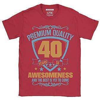 Premium quality 40 years of awesomeness and the best is yet to come 40th birthday t shirt