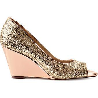 Brinley Co. Womens Sanne Glitter Open-Toe Metallic Wedges