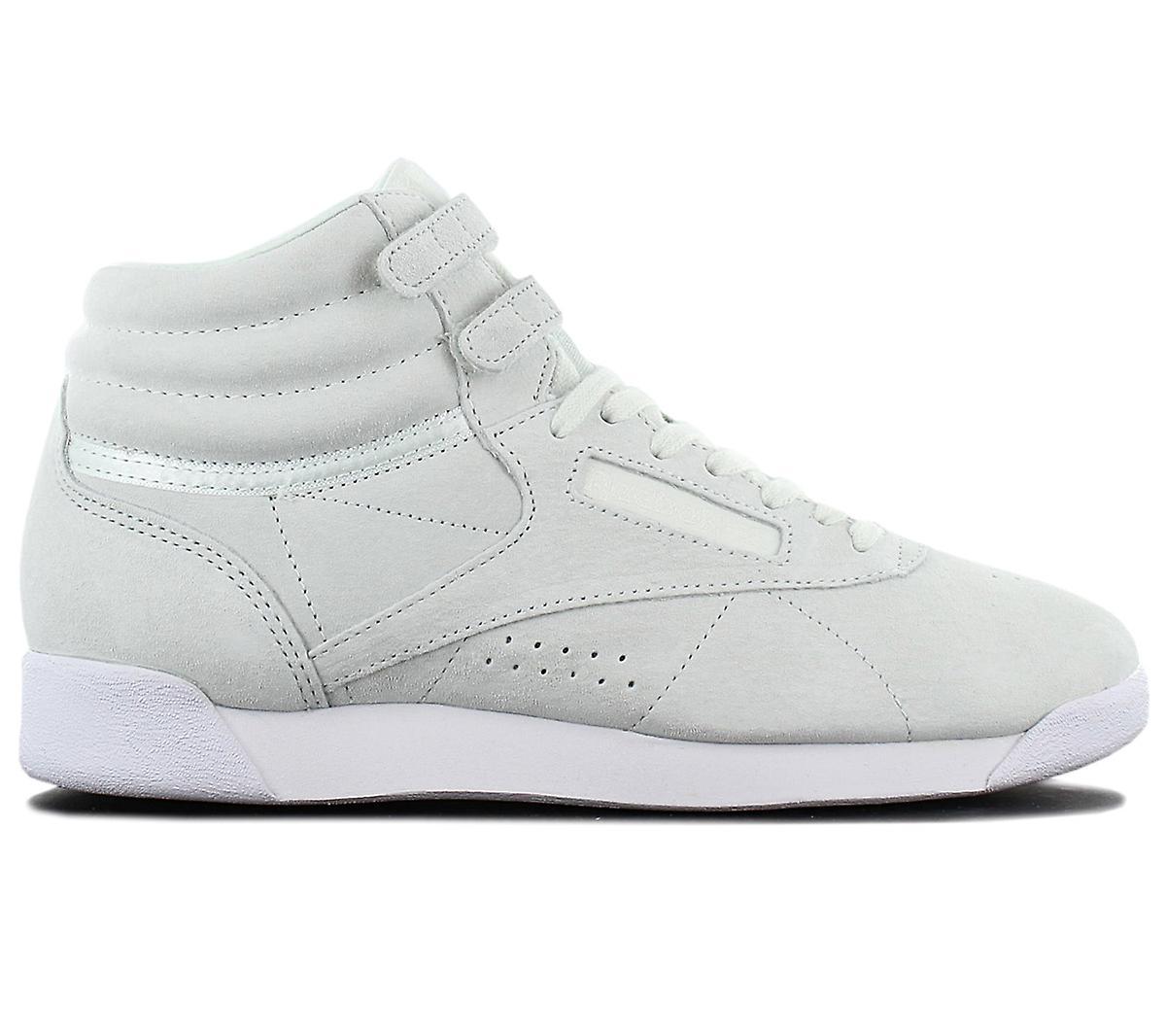 Reebok Wmns Freestyle Hi NBK Leather Damen Schuhe Opal-Grün CN0604 Sneakers Sportschuhe 51NKc