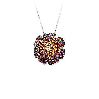 925 Sterling Silver Rhodium Plated Flower Pendant Necklace Lite Brown and Clear 18 Inch Jewelry Gifts for Women