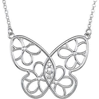 925 Sterling Silber 28x34.75mm Schmetterling Engel Flügel und Floral Halskette Schmuck Geschenke für Frauen