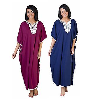 2pk Ladies One Size Kaftans Embroidered Neckline Lace Edging Full Length