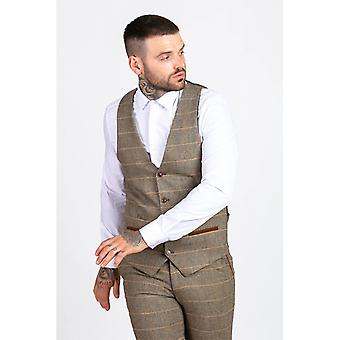 Marc Darcy TED Tweed Herringbone Check Vest - Tan