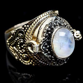 Large Rainbow Moonstone Poison Ring Size 7 (925 Sterling Silver)  - Handmade Boho Vintage Jewelry RING3339