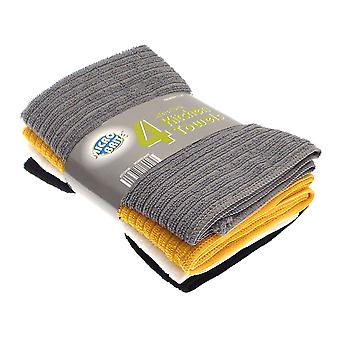 Microbrite Set of 4 Yellow and Grey Kitchen Towels