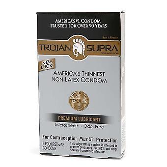 Trojan supra smurt premium kondomer, microsheer polyurethan, 6 ea