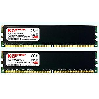 Komputerbay 4GB (2x 2GB) DDR2 800MHz PC2-6300 6400 RAM (240 pins) DIMM 5-5-5-18 Desktop memory with heat sinks