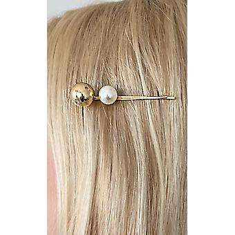 Hairpin with pearl and ball in gold