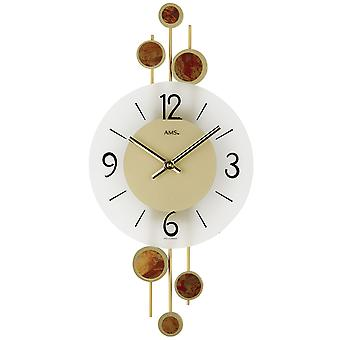 AMS 9389 wall clock quartz analog golden modern with glass and metal