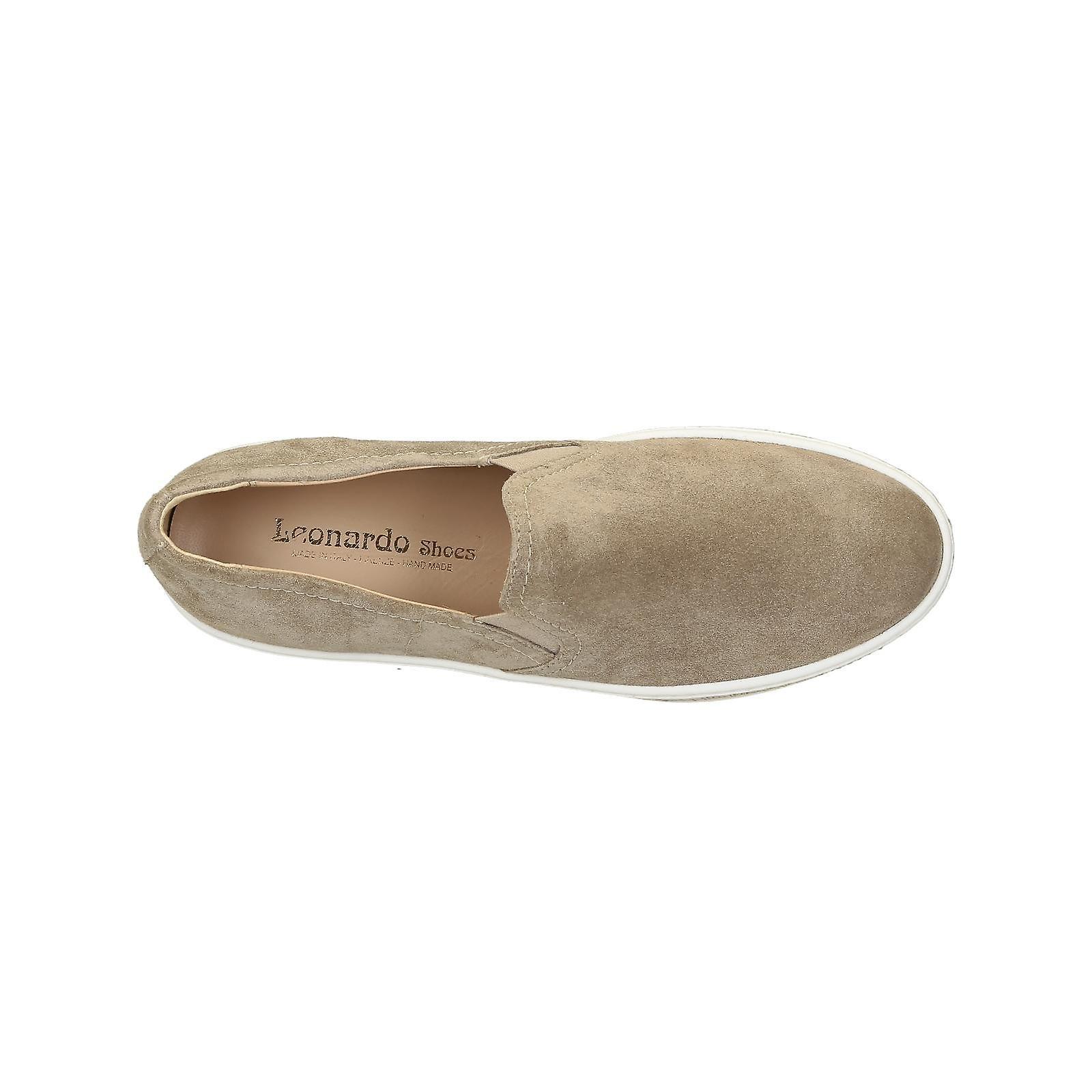 Beige Suede Slip-ons Sneakers With Gold Paiette Platform