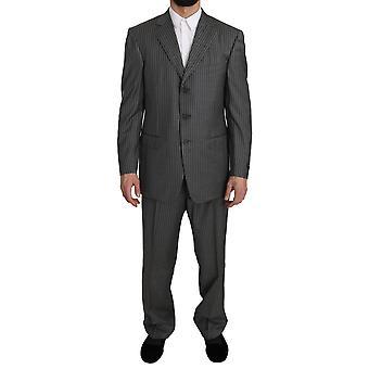 Ermenegildo Zegna Wool Gray Striped 2 Piece Suit -- KOS1066288