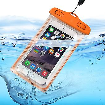 Samsung Galaxy A70s (Orange) Waterproof Touchscreen Dry Bag Phone Case Cover Protection