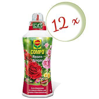 Sparset: 12 x COMPO rose gjødsel, 1 liter