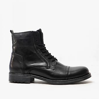 Jack & Jones Russel Mens Leather Ankle Boots Anthracite