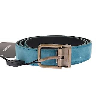 Dolce & Gabbana Blue Leather Gold Buckle Belt