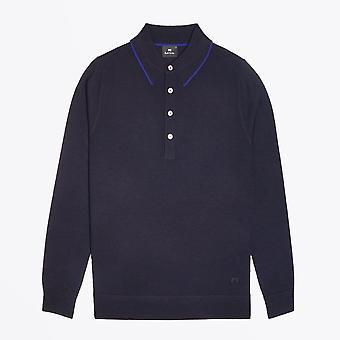 PS Paul Smith  - Merino Wool Long-Sleeve Polo Shirt - Navy